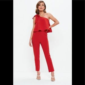 Red One shoulder bow jumpsuit